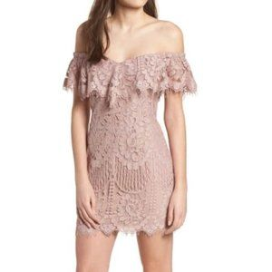 WAYF Venice Lace Ruffle Off the Shoulder Dress Mauve Small Dusty Rose